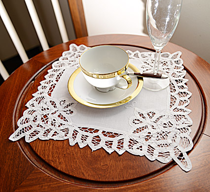 Battenburg Lace Square Doilies. 12 inches. White. Each.